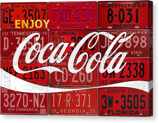 Drinks Canvas Print - Coca Cola Enjoy Soft Drink Soda Pop Beverage Vintage Logo Recycled License Plate Art by Design Turnpike