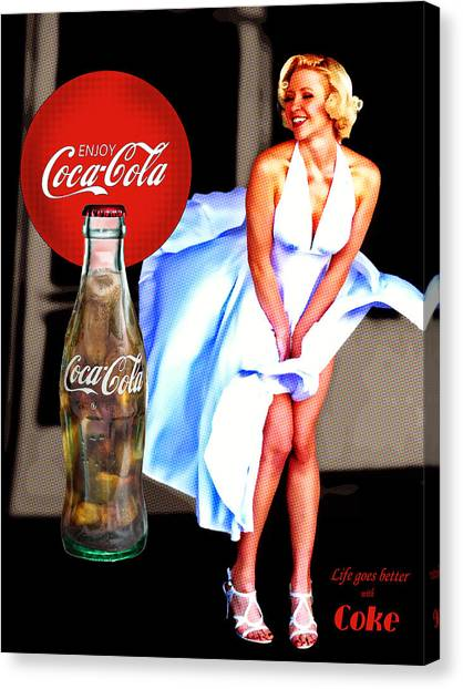 Coca Cola Girl Marilyn Canvas Print