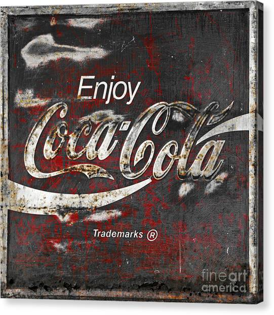 Coca Cola Canvas Print - Coca Cola Grunge Sign by John Stephens