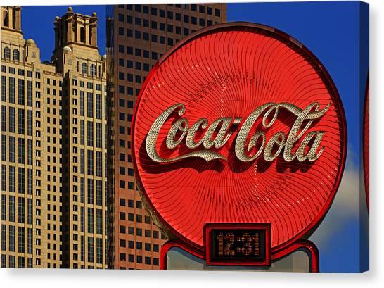 Coca Cola Neon Sign Atlanta Canvas Print