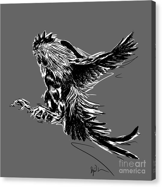 Cock Bw II Transparant Canvas Print