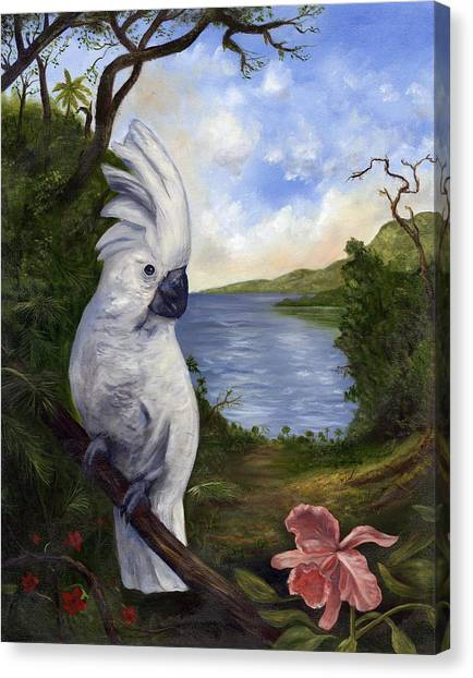 Canvas Print - Cockatoo And Orchid by Anne Kushnick
