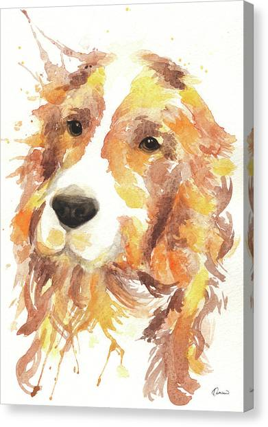 Watercolor Pet Portraits Canvas Print - Cocker by Kathleen Wong