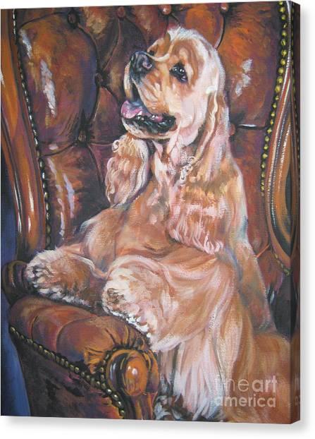 Cocker Spaniels Canvas Print - Cocker Spaniel On Chair by Lee Ann Shepard
