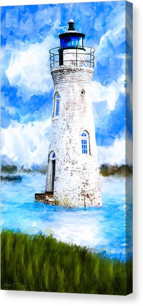 Canvas Print featuring the mixed media Cockspur Island Light - Georgia Coast by Mark Tisdale