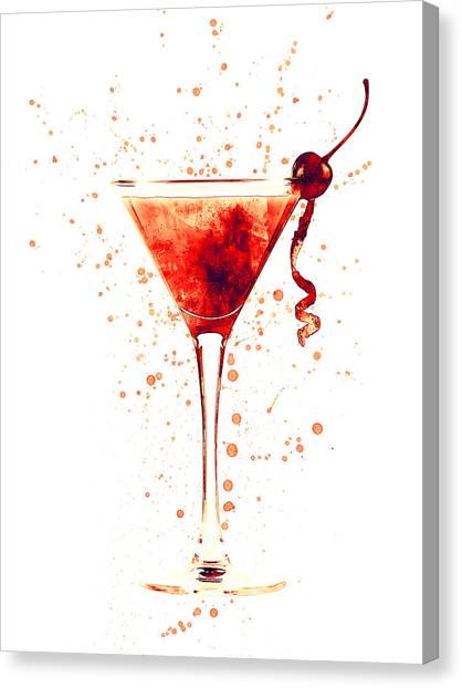 Martini Canvas Print - Cocktail Drinks Glass Watercolor Red by Michael Tompsett