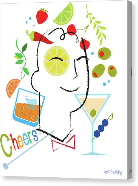 Cherries Canvas Print - Cocktail Time by Lisa Henderling
