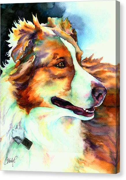 Border Collies Canvas Print - Cocoa Lassie Collie Dog by Christy  Freeman