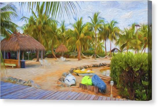 Coconut Palms Inn Beach Canvas Print