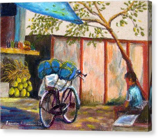 Coconut Stand Canvas Print by Art Nomad Sandra  Hansen