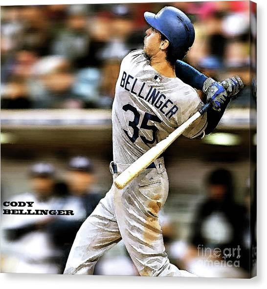 Miami Marlins Canvas Print - Cody Bellinger, Los Angeles Dodgers by Thomas Pollart