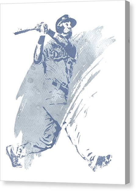 Los Angeles Dodgers Canvas Print - Cody Bellinger Los Angeles Dodgers Water Color Art 1 by Joe Hamilton