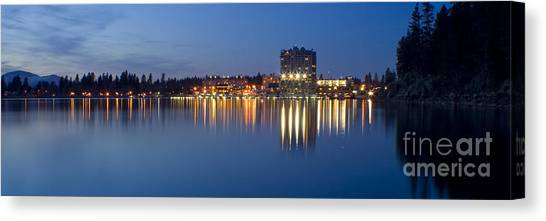 Coeur D Alene Night Skyline Canvas Print