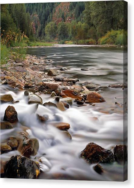 Coeur D'alene River Canvas Print by Leland D Howard