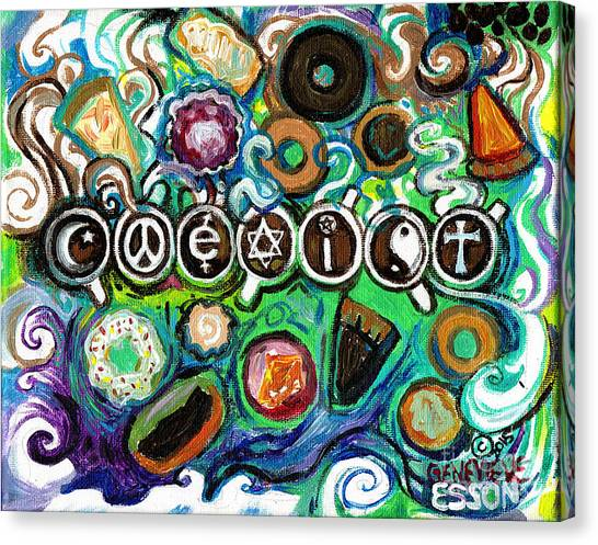 Coexist Canvas Print - Coexisting With Coffee And Donuts by Genevieve Esson