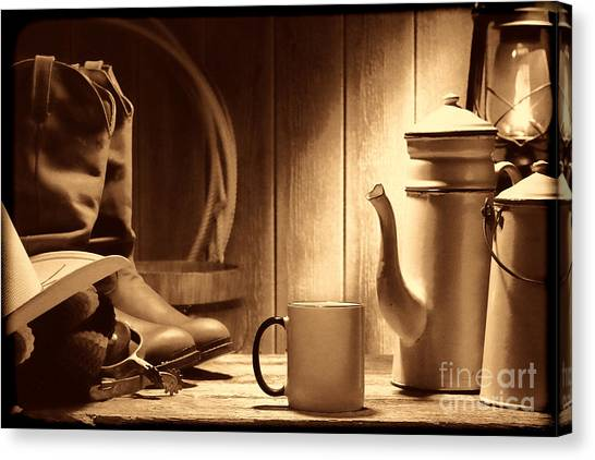 Coffee At The Ranch Canvas Print
