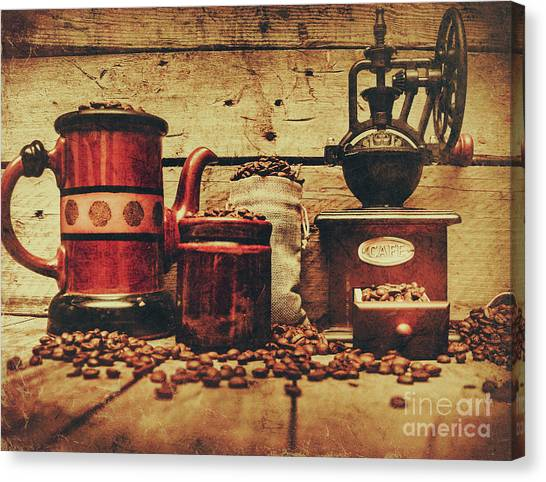 Drawers Canvas Print - Coffee Bean Grinder Beside Old Pot by Jorgo Photography - Wall Art Gallery