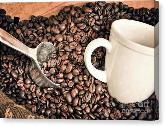 Coffee Beans Canvas Print - Coffee Beans by Delphimages Photo Creations