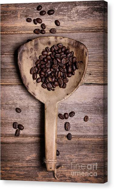 Coffee Beans Canvas Print - Coffee Beans In Antique Scoop. by Jane Rix