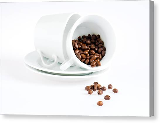 Coffee Cups And Coffee Beans  Canvas Print