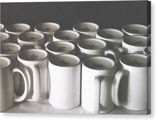 Coffee Shops Canvas Print - Coffee Cups- By Linda Woods by Linda Woods