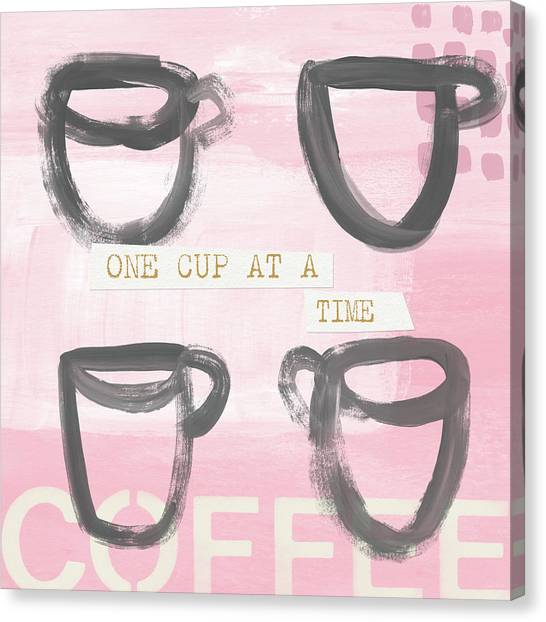 Caffeine Canvas Print - Coffee Cups Pink- Art By Linda Woods by Linda Woods