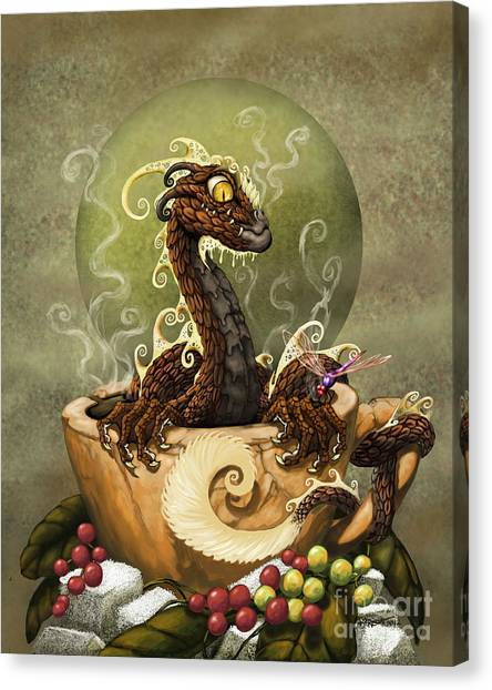 Dragons Canvas Print - Coffee Dragon by Stanley Morrison