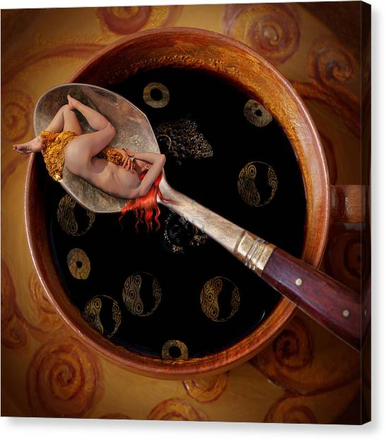 Nude Canvas Print - Coffee For Mister Klimt by Floriana Barbu