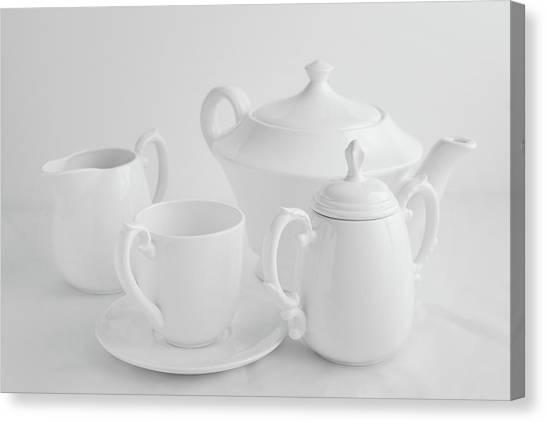 Tea Pot Canvas Print - Coffee In White by Tom Mc Nemar