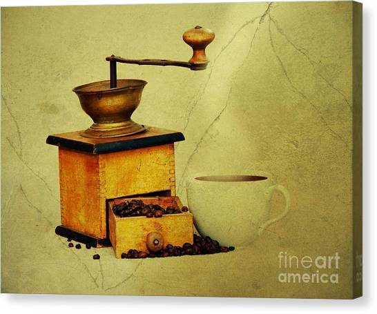 Coffee Mill And Cup Of Hot Black Coffee Canvas Print