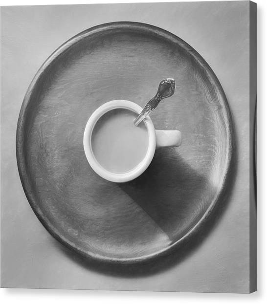 Black Top Canvas Print - Coffee On A Wooden Tray by Scott Norris