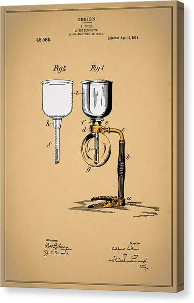 Coffee Plant Canvas Print - Coffee Percolator Patent 1914 by Mark Rogan