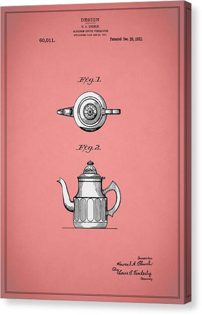 Coffee Plant Canvas Print - Coffee Percolator Patent 1921 by Mark Rogan