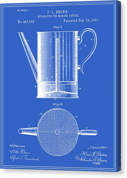 Coffee maker canvas prints page 4 of 9 fine art america coffee maker canvas print coffee press patent blueprint by finlay mcnevin malvernweather Choice Image