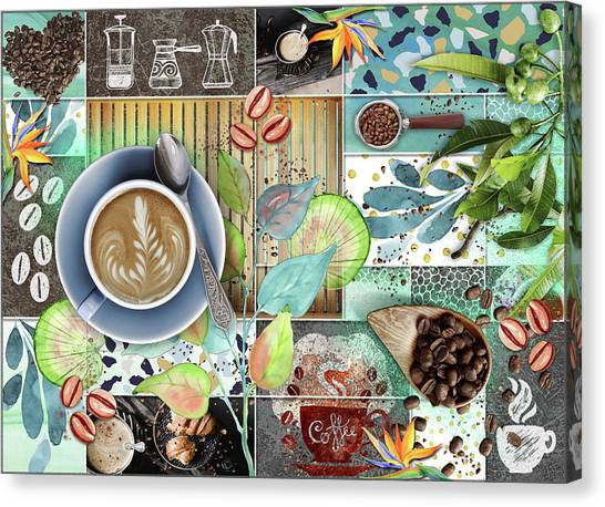 Coffee Plant Canvas Print - Coffee Shop Collage by Linda Carruth