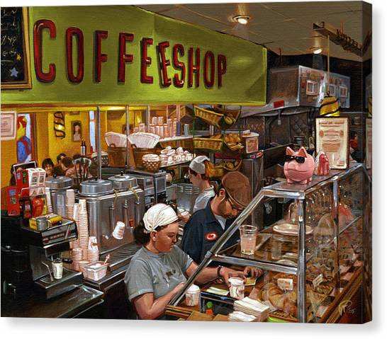 Coffee Shop Canvas Print by Ted Papoulas