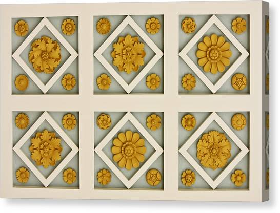 J Paul Getty Canvas Print - Coffered Ceiling Detail At Getty Villa by Teresa Mucha