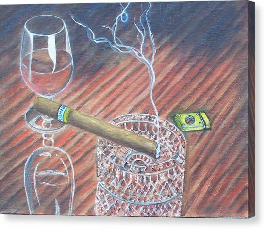 Cohiba And  Wine Canvas Print by Charles Vaughn