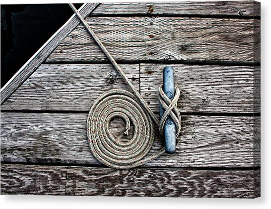Rope Canvas Print - Coiled Mooring Line And Cleat by Carol Leigh