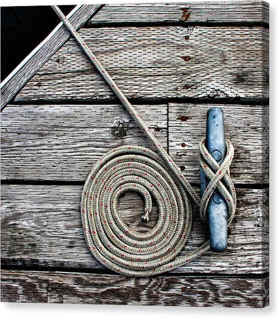 Rope Canvas Print - Coiled Mooring Line And Cleat Square Version by Carol Leigh