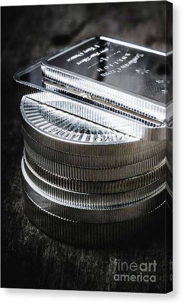 Coins Canvas Print - Coins Of Silver Stacking by Jorgo Photography - Wall Art Gallery