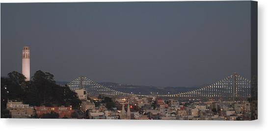 Coit Tower And Bay Bridge Canvas Print