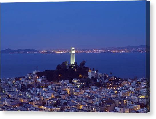 Coit Tower At Dusk San Francisco California Canvas Print by Carol M Highsmith