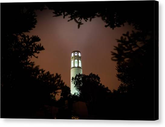 Coit Tower Through The Trees Canvas Print