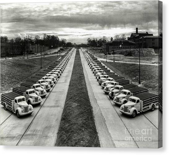 Pepsi Canvas Print - Coke Delivery Truck Fleet by Jon Neidert