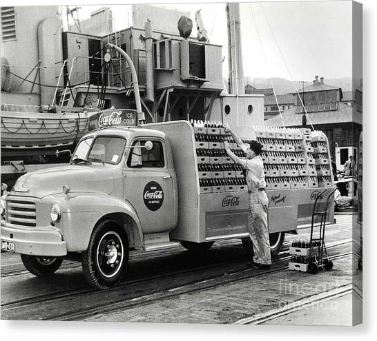 Chevy Truck Canvas Print - Coke Delivery Truck by Jon Neidert