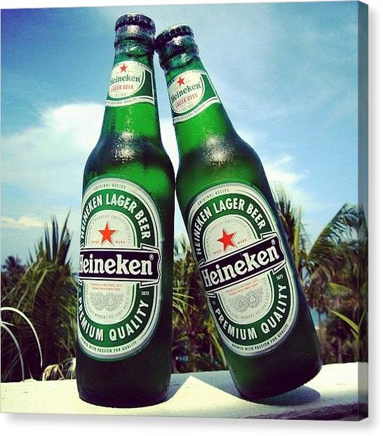 Beer Canvas Print - #cold #beer #heineken #bottle #couple by Stan Chashchnikov