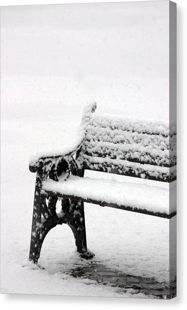 Cold Bench Canvas Print by Jez C Self