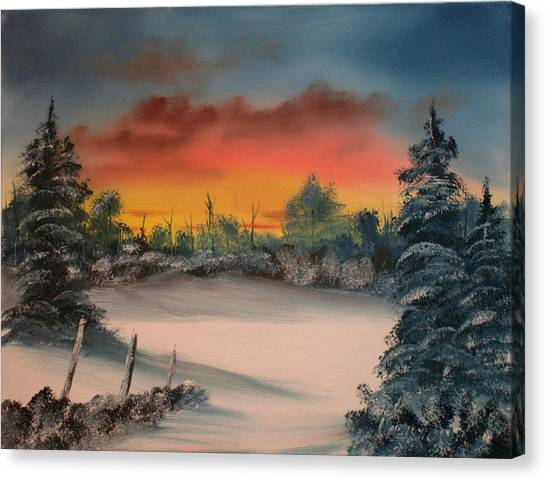 Cold Morning Sunrise Canvas Print by Larry Hamilton