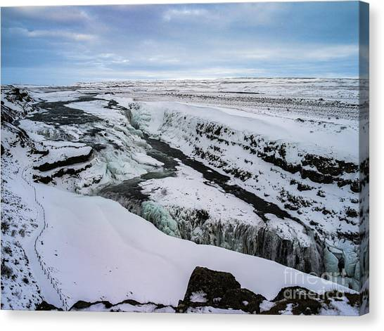 Cold Winter Day At Gullfoss, Iceland Canvas Print